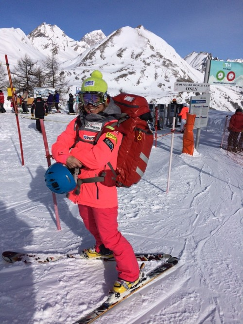 Dr. Andrea Saterbak is pictured on race day in LaThuile, Italy, at the Women's World Cup Downhill and Super G event in mid-February.